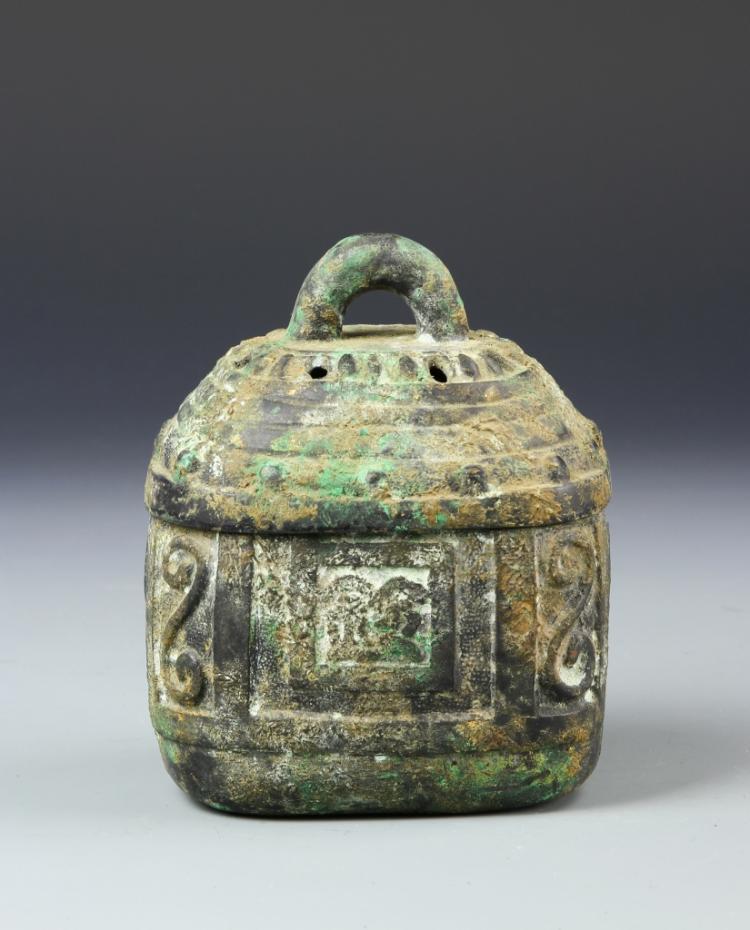 Chinese Antique Bronze Square Jar