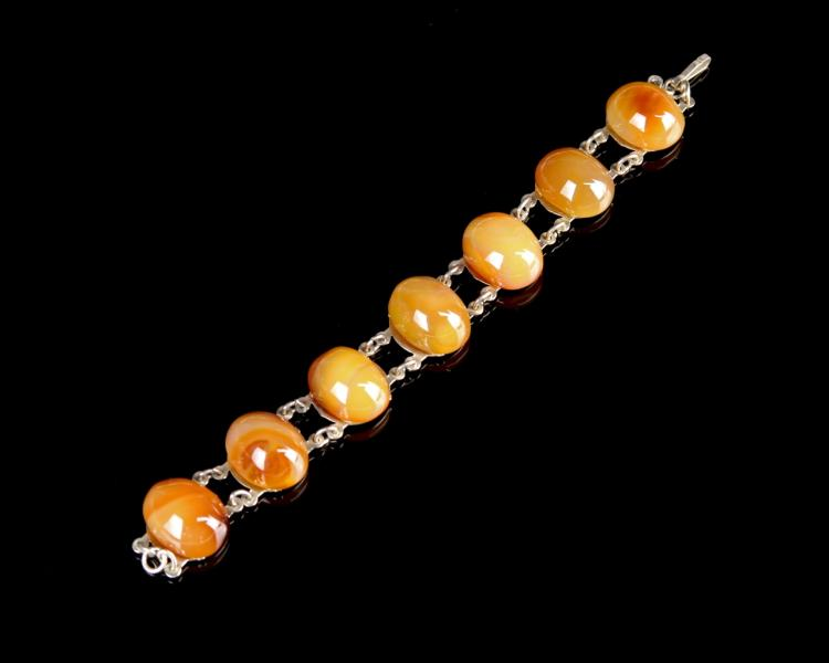 Chinese Agate Silver Bracelet