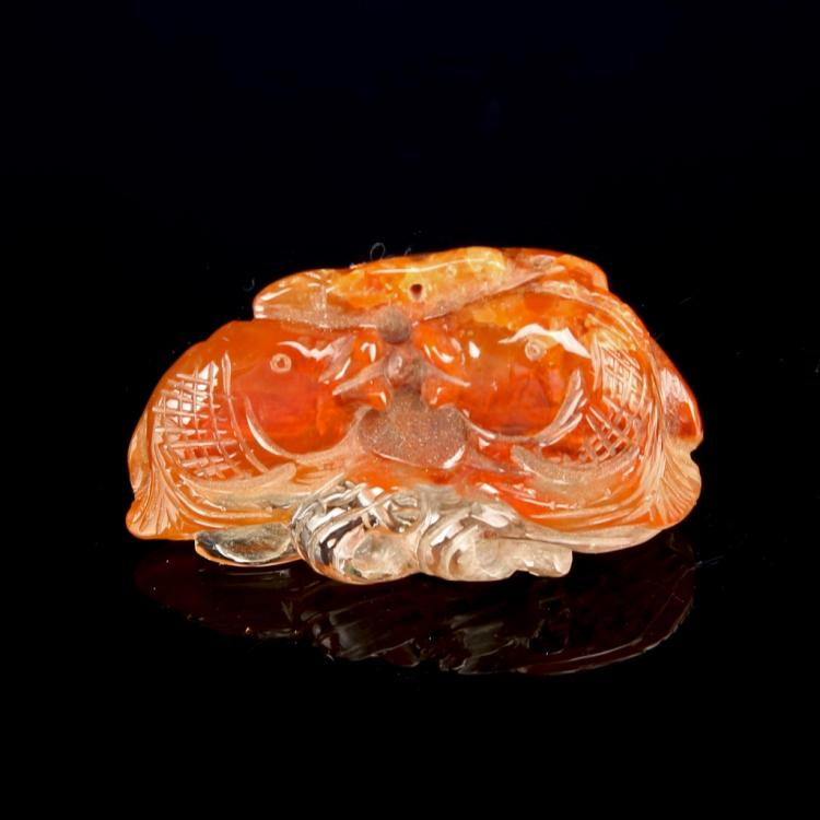 Chinese Crystal Pendant of Double Fish