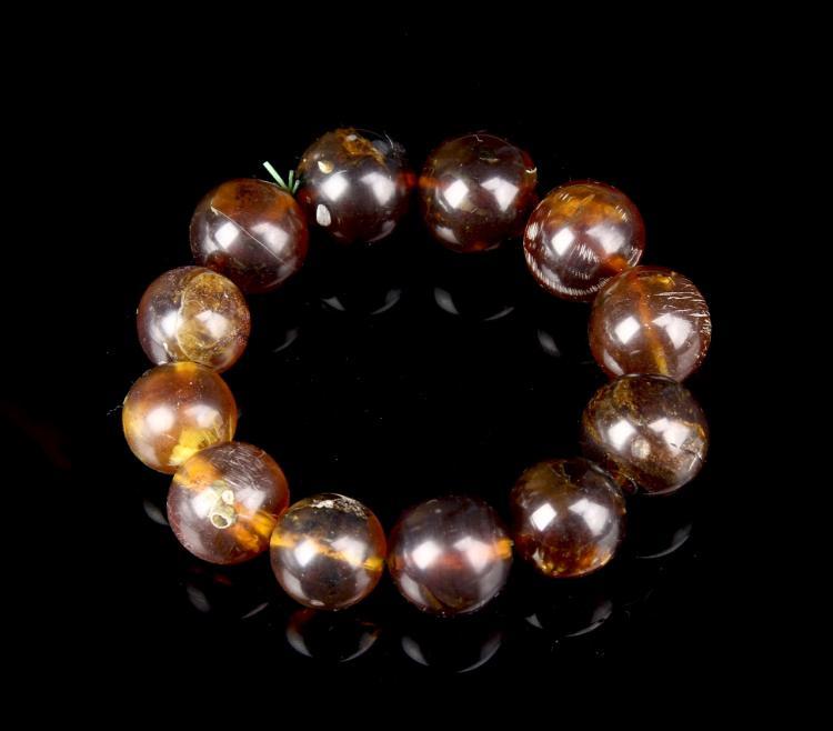 Chinese Antique Amber Bracelet Large