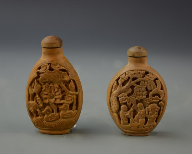 Chinese Two Wooden Snuff Bottles