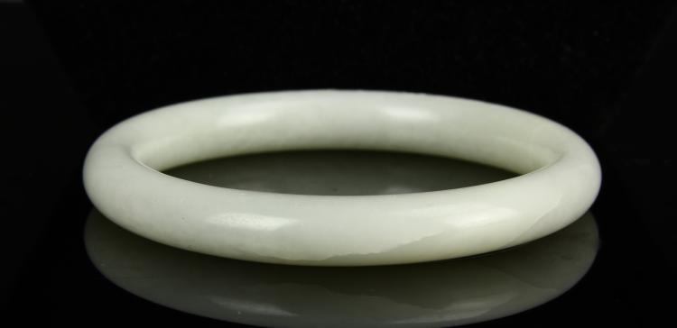 Chinese Antique White Jade Bangle