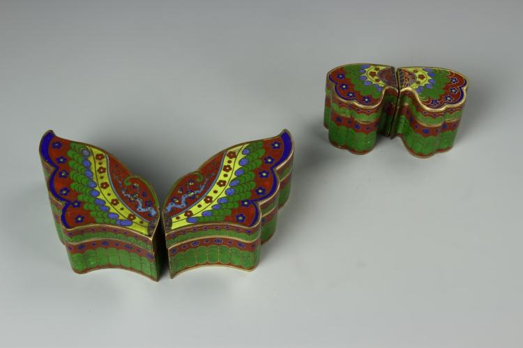 Chinese Four Pieces Cloisonne Box
