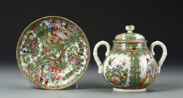 Chinese Rose Medallion Plate and Sugar Jar