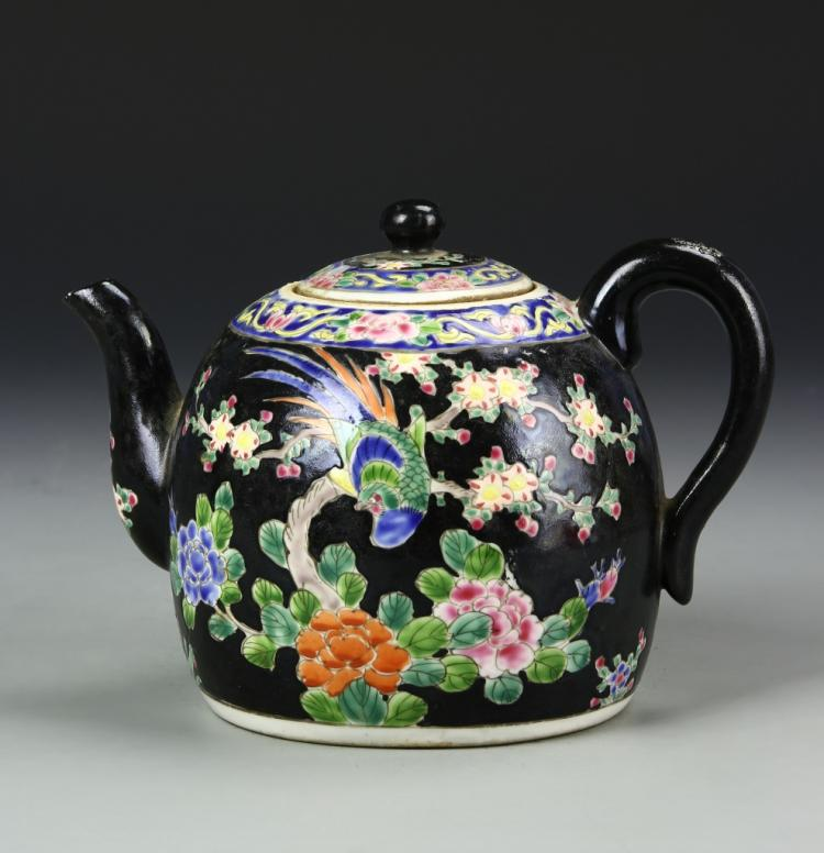 Chinese Famille Noir Teapot