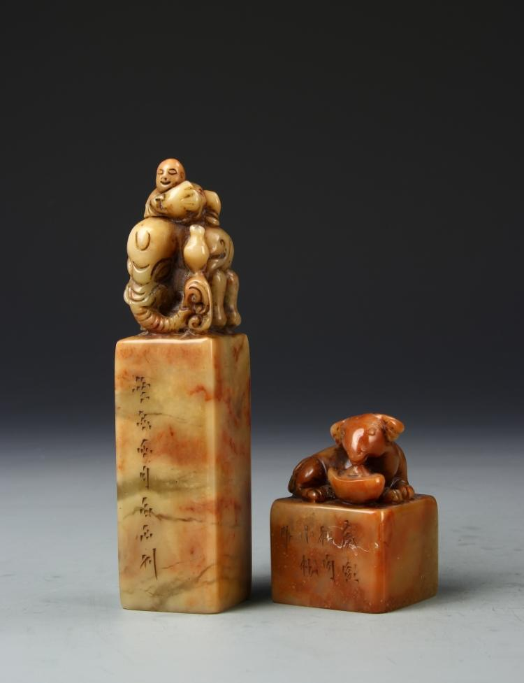 Two Chinese Stone Seal Chops