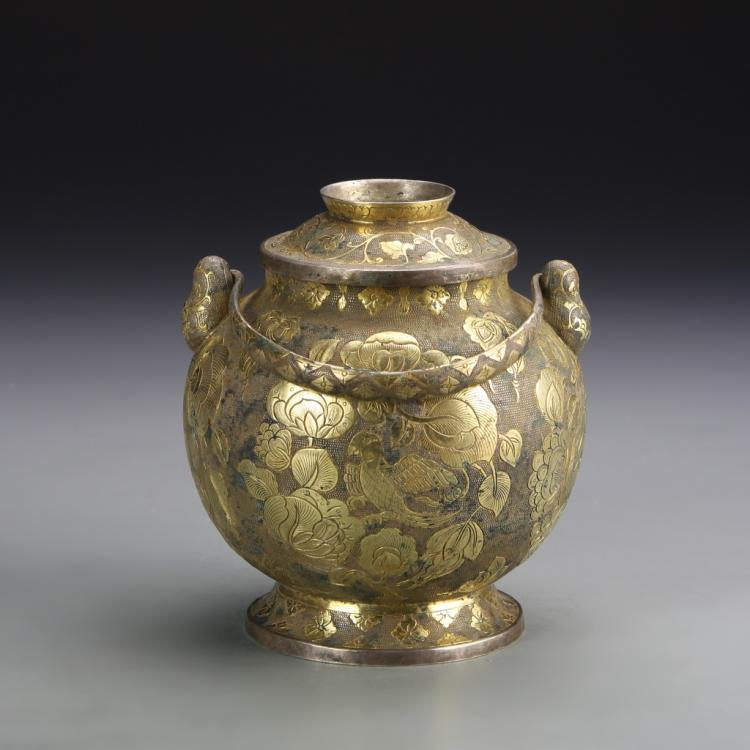Chinese Gilt and Silver Jar