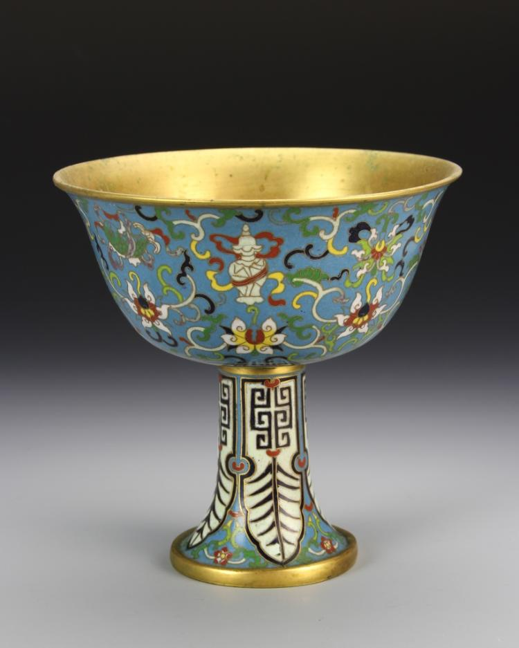 Chinese Cloisonne High Stem Bowl