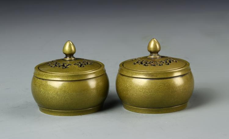 Pair of Chinese Bronze Censers