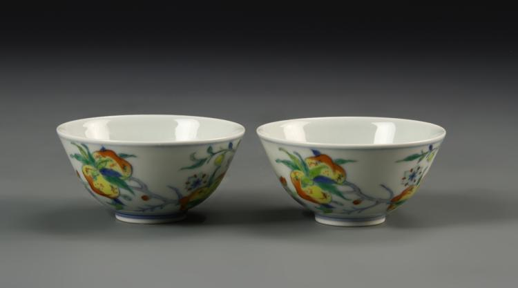 Pair of Chinese Doucai Bowls