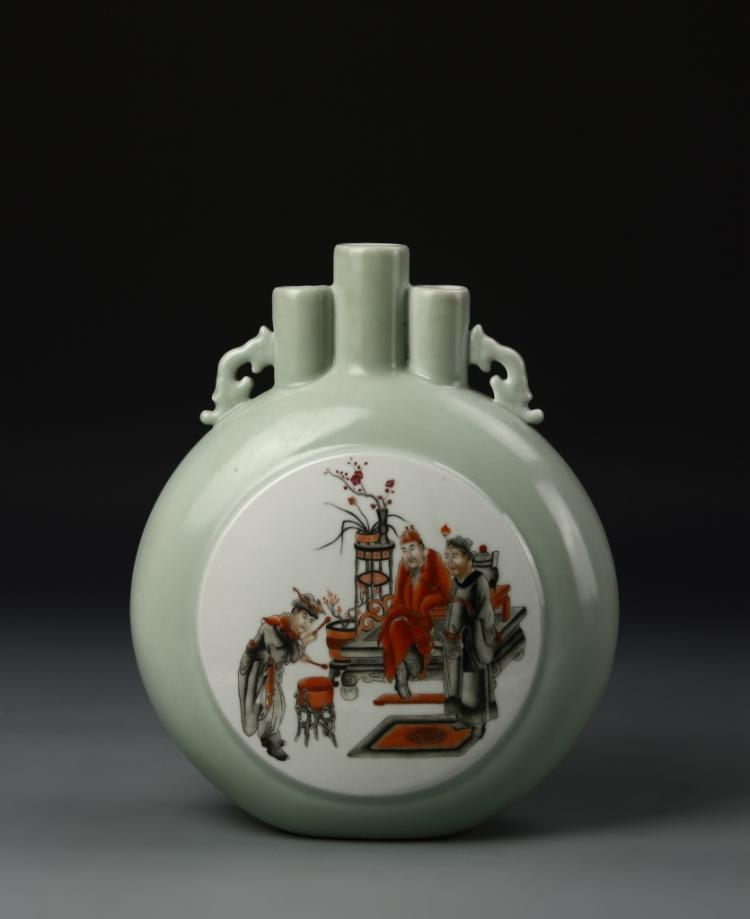 Chinese Celadon Moon Flask