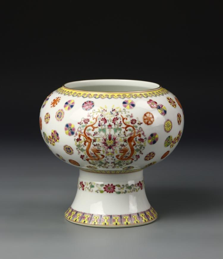 Chinese Famille Rose High Stem Bowl