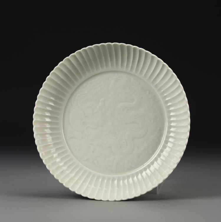 Chinese White Glazed Dragon Plate