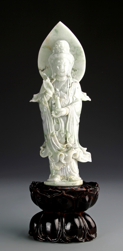 Chinese Carved Jadeite Guanyin Figure