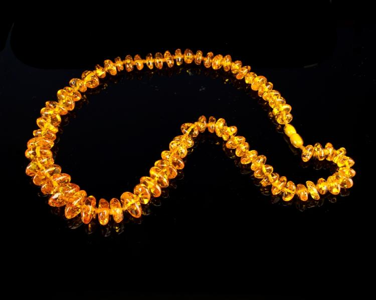 Chinese Golden Amber Necklace