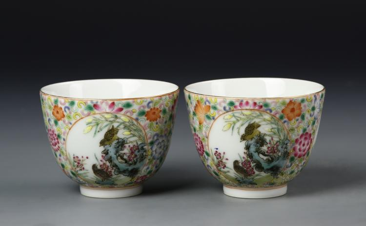 Pair of Chinese Famille Rose Tea Cups