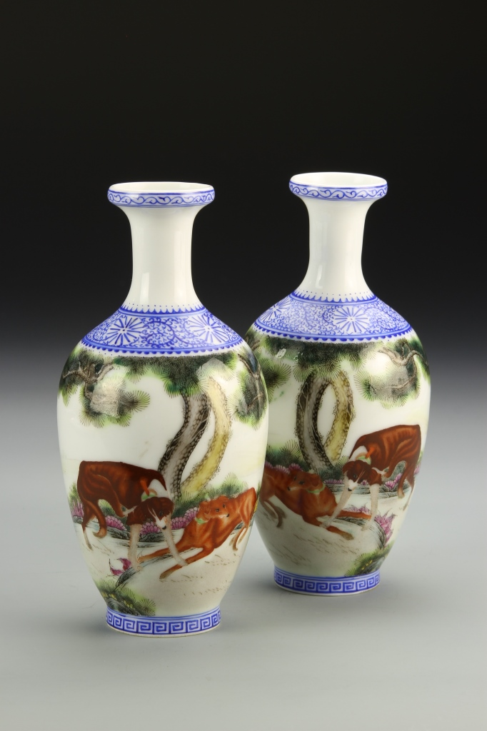 Pair of Chinese Famille Rose Blue and White Vase