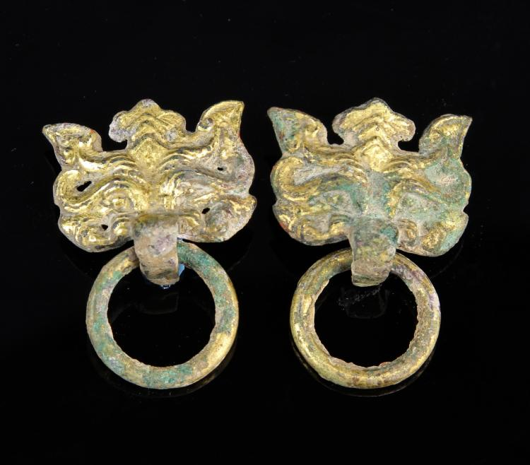 Pair of Chinese Gilt Mythical Animal Heads