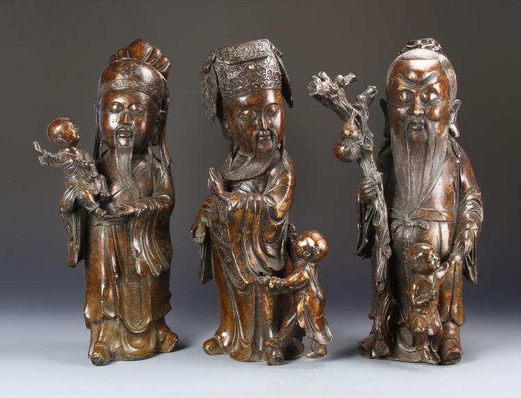Three Chinese Bronze Figures