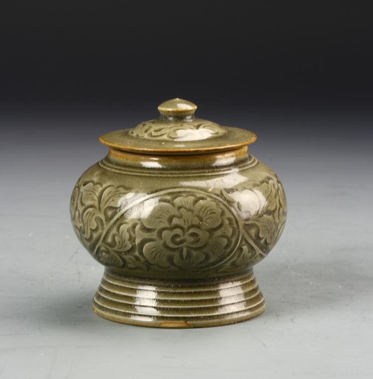 Chinese Yao Zhou Celadon Covered Jar
