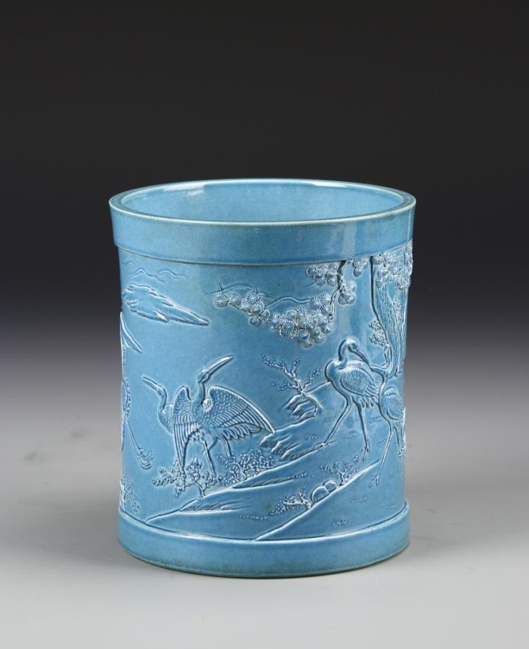 Chinese Light Blue Carved Brush Pot