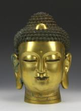 Chinese Gilt Bronze Buddha Head