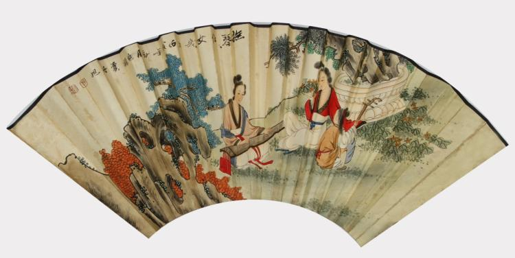 Chinese Fan Painting, Attributed to Fei Danxu