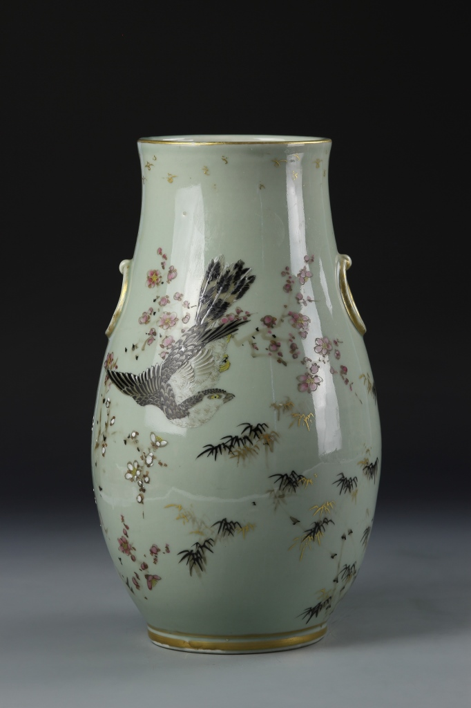 Sold Price: Japanese Famille Rose Celadon Vase - January 3 ...