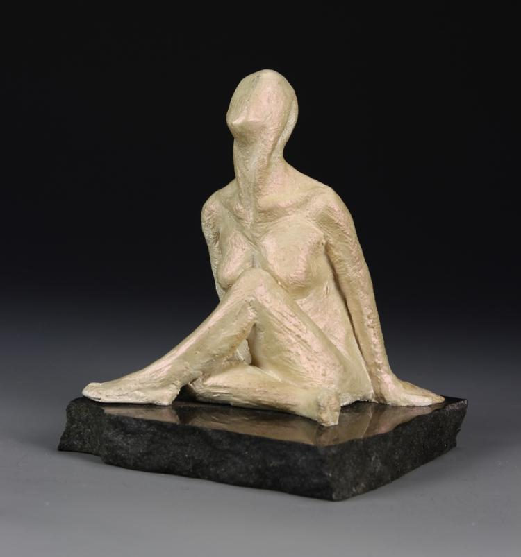 Abstract Nude Lady Sitting Figure On Stone Base
