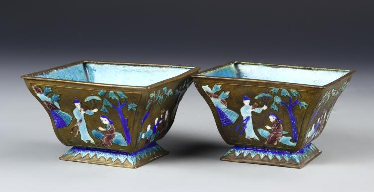 Chinese A Pair Of Enameled Copper Flower Pots