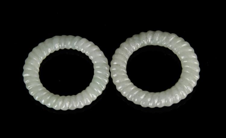 Chinese A Pair Of Jade Earrings