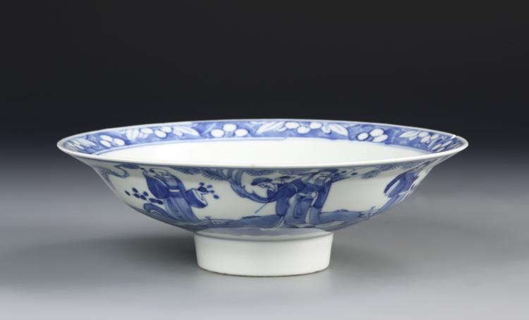 Chinese Blue and White High Stem Bowl