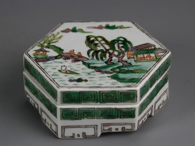 Chinese Famille Rose Ink Box With Lid