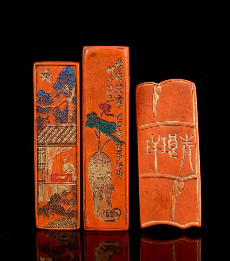 Chinese 19th Century 3 Red Ink Blocks