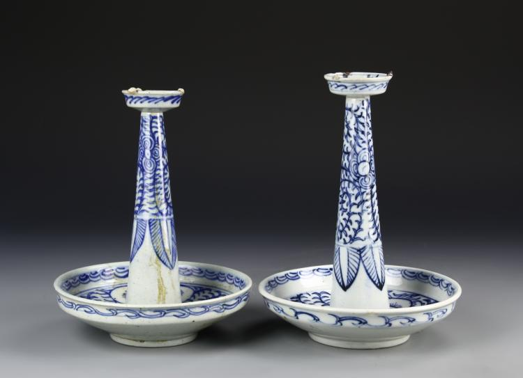 Chinese A Pair Of Blue And White Candle Sticks