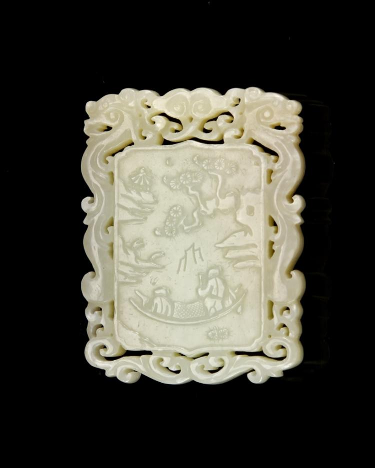 Chinese Jade Square Pendant