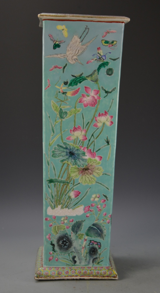 Chinese Export Famille Rose Square Vase