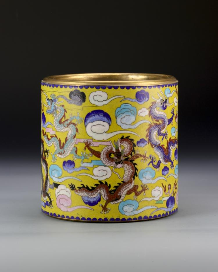 Chinese Cloisonne Brush Pot