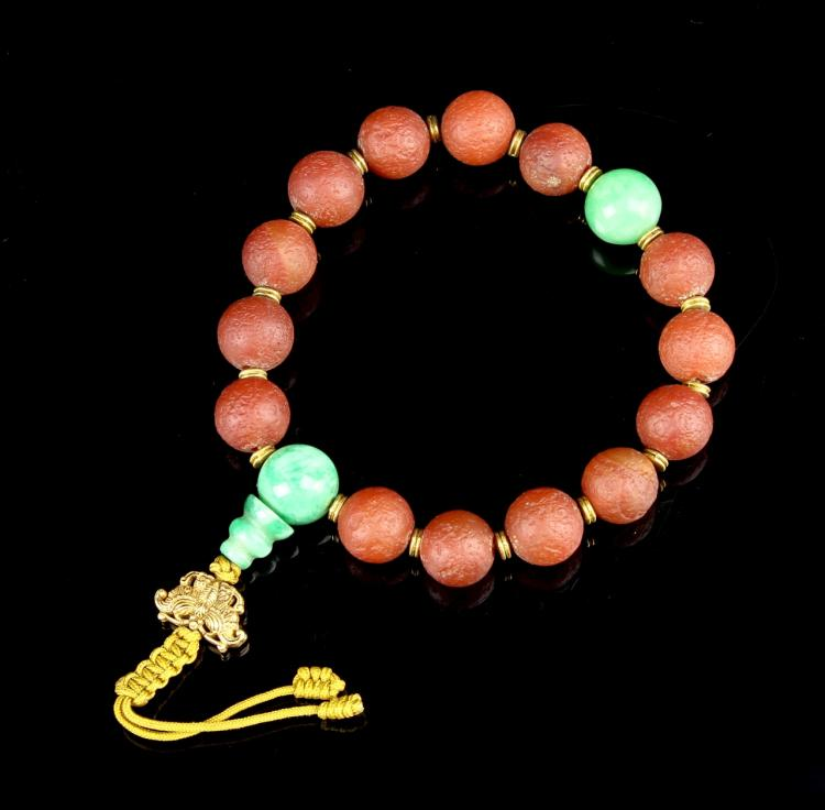 Chinese Agate and Jadeite Prayer Beads