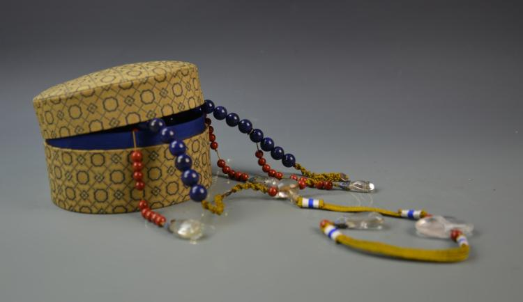 Chinese Lapis Beaded Court Necklace with Box