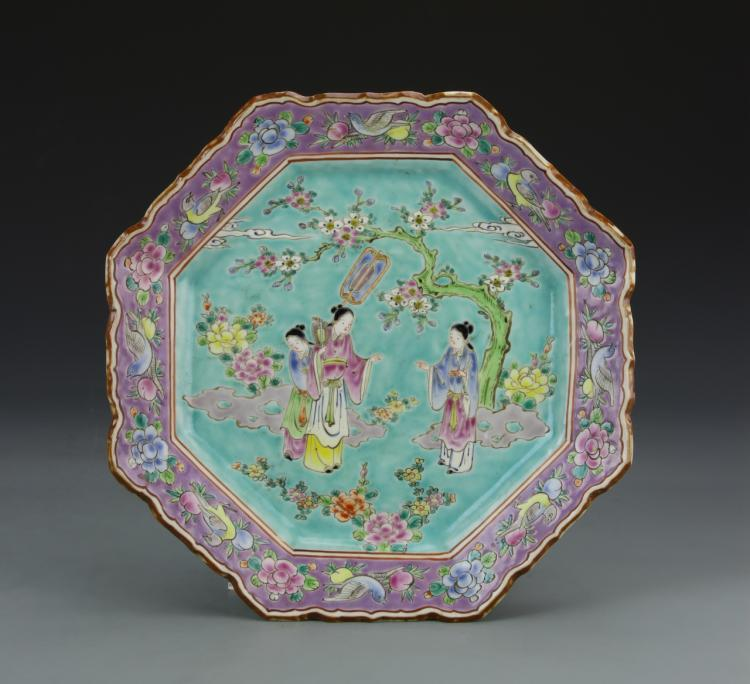 Chinese Famille Rose Eight Sided Plate