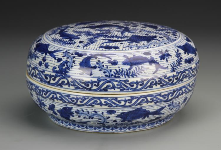 Chinese Blue and White Round Box