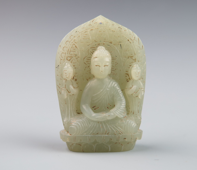A light greenish white jade of shakyamuni