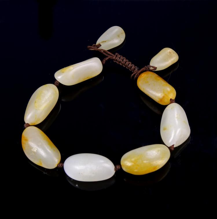 Chinese Jade Pebble Bracelet