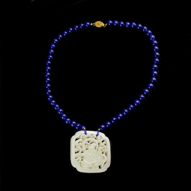 Chinese Jade Pendant with Lapis Necklace