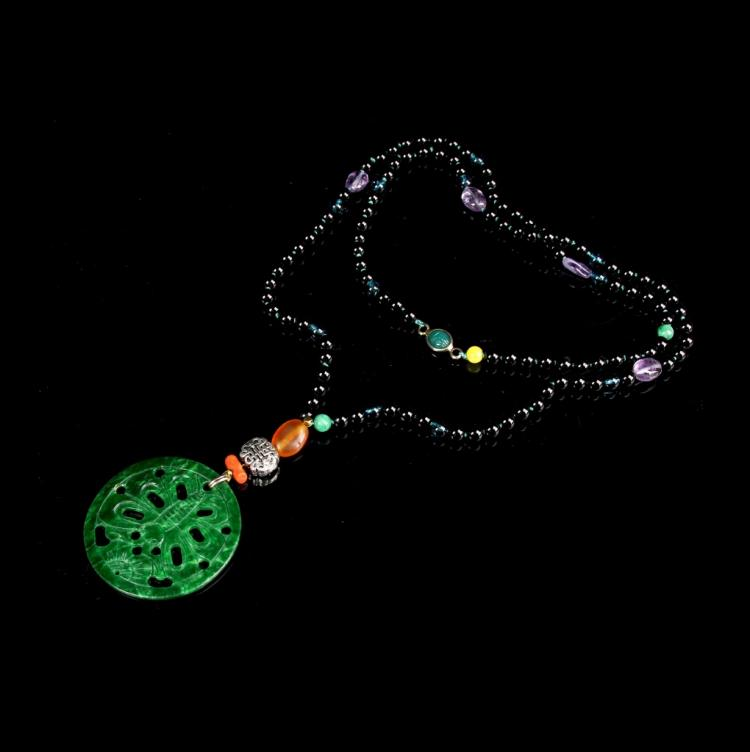 Chinese Agate and Jade Beaded Necklace