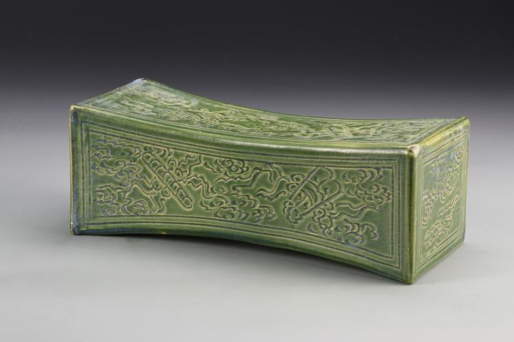Chinese Antique Green Glazed Pillow