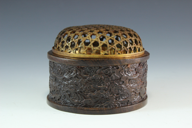 A Hardwood Censer w/Bronze Cover