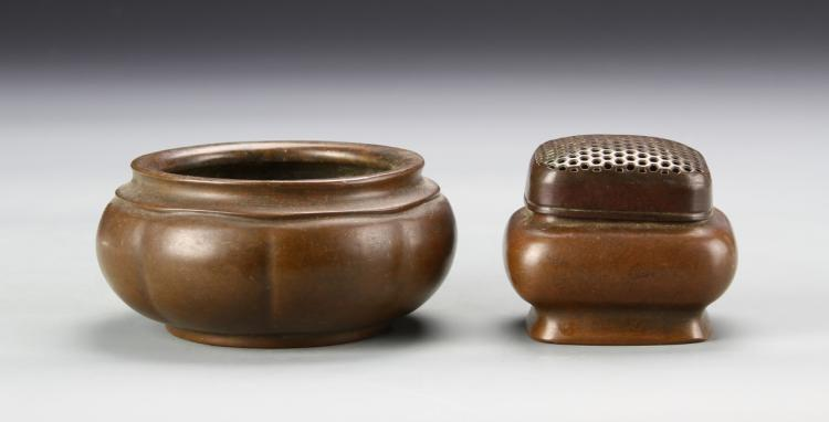 Chinese Bronze Censer and Hand Warmer