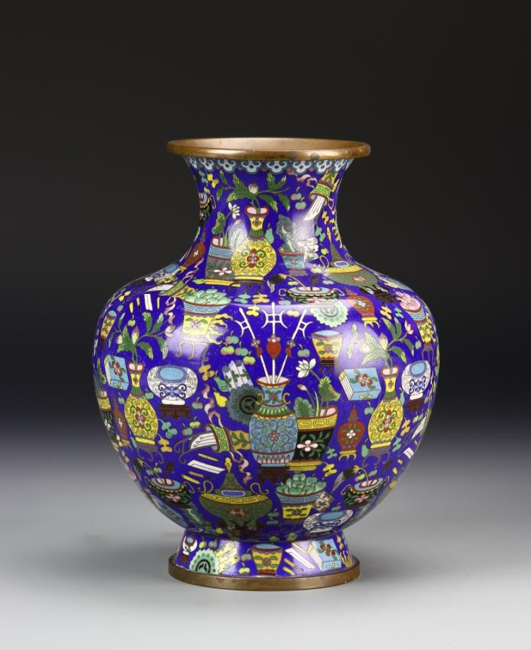 Chinese Enameled Bronze Vase